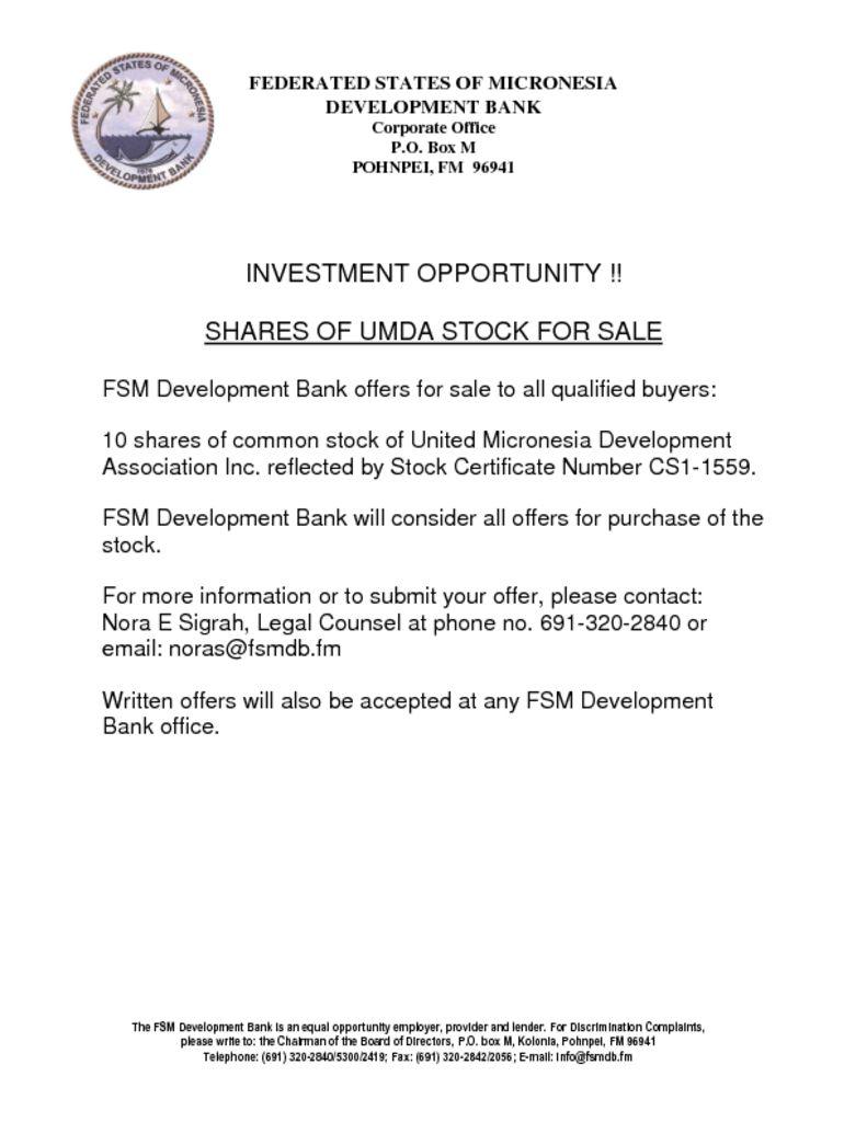 SHARES OF UMDA STOCK FOR SALE – FSMDB